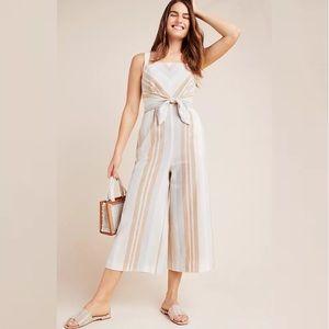 Anthropologie Savannah Striped Linen Jumpsuit size 0 XS